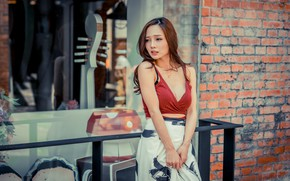Picture girl, skirt, neckline, brown hair, topic, Asian