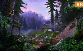 Picture forest, mountains, settlement, The Mists of Ravenwood, Enigmatis 2