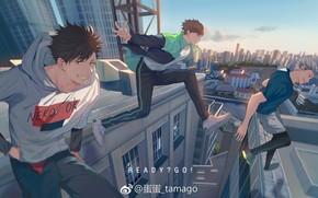 Picture the city, guys, jump, Haikyuu, Tooru Oikawa, Koutarou Bokuto, Tetsurō Kuroo