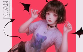 Picture girl, style, the demon, tail, horns