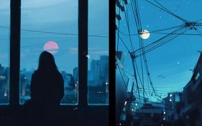 Picture girl, figure, silhouette, art, art, Aenami, by Aenami, Alena Aenam The, by Alena Aenami, Evening …