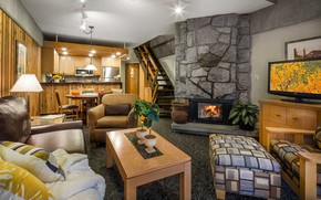 Picture interior, kitchen, fireplace, living room