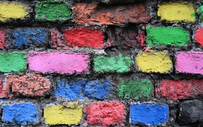 Picture wall, color, brick, texture