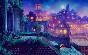 Picture girl, night, the city, lights, the moon, Trine 4: The Nightmare Prince