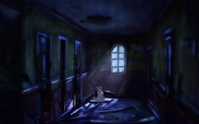 Picture cat, corridor, abandoned house, by Meorow