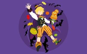Picture background, minimalism, pumpkin, guy, bats, Halloween, Nanatsu no Taizai, The seven deadly sins