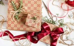 Picture winter, red, holiday, rope, Christmas, tape, gifts, New year, bow, needles, scissors, box, bokeh, Christmas …