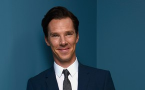 Picture smile, actor, blue background, Benedict Cumberbatch, Benedict Cumberbatch, British actor