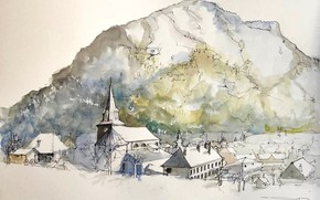 Picture landscape, the city, figure, France, watercolor, Le Bourg-d'oisans