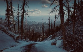 Picture HDR, Horizon, Wood, Winter, Mountain, Game, Cold, UHD, 4K, Red Dead Redemption 2, Xbox One …