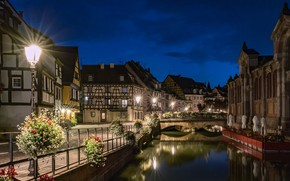 Picture lights, France, the evening, Colmar, Colmar