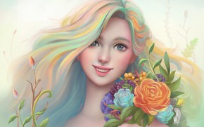 Picture girl, flowers, smile, figure, portrait