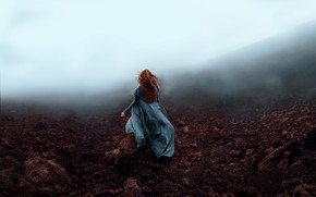 Picture girl, nature, fog, style, hair, back, fantasy, image, red, photoart, Kindra Nikole