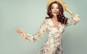Picture smile, style, makeup, dress, hat, curls, model, Sofia Zhuravets'