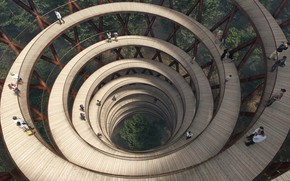 Picture nature, effect, spiral, staircase, Denmark, Haslev, spiral walkway, treetop, EFFECT, Gisselfeld Klosters Skove forest