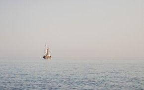 Picture sea, fog, ship, morning, sails