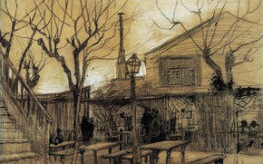 Picture tables, ladder, lantern, benches, Vincent van Gogh, A Guinguette, Ladi