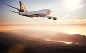 Picture The sun, The sky, The plane, Liner, Board, Boeing, 747, Lufthansa, Boeing 747