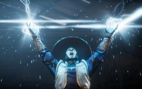 Picture zipper, sparks, lightning, Raiden, god of thunder, Mortal Kombat 11, MK 11, Mortal Kombat 11, …
