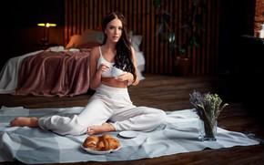 Picture girl, pose, mug, plaid, long hair, pants, lavender, croissants, Sergey Olszewski, Ксения Климова