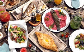 Picture fish, lemonade, salad, cuts, khachapuri, Georgian cuisine
