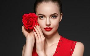 Picture flower, girl, face, rose, portrait, makeup, red, model