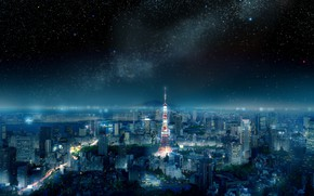 Picture the sky, landscape, night, the city, Tokyo