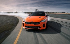 Picture orange, track, KIA, Kia, GTS, the five-door, Stinger, 2020, fastback, KIΛ