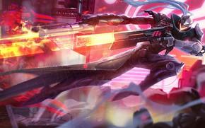 Picture weapons, fire, guns, the game, art, League of Legends, League of legends