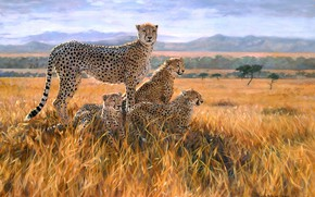 Picture field, figure, picture, art, Savannah, painting, cubs, mother, cheetahs, Julia Rogers