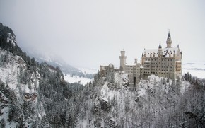 Picture winter, forest, the sky, snow, trees, mountains, nature, fog, castle, the slopes, view, height, Germany, …