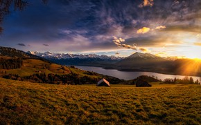 Picture field, autumn, sunset, mountains, Alps, houses