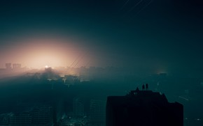 Picture The city, Smoke, People, Destruction, Art, Silhouettes, Illustration, Warzone, by Clement Mona, Clement Mona, kb3dcontest