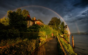 Picture girl, house, shore, dog, rainbow, pond