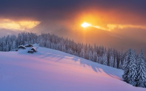 Picture winter, forest, the sky, light, sunset, mountains, house, tree, Carpathians, Mike Remeniuk