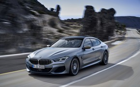 Picture markup, coupe, speed, BMW, Gran Coupe, 8-Series, 2019, the four-door coupe, Eight, G16, steel gray