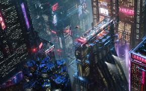 Picture Night, The city, Future, Neon, Rain, Skyscrapers, City, Architecture, Fiction, Concept Art, Cyberpunk, Erik Osvald, …