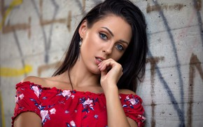 Picture look, pose, model, portrait, makeup, dress, brunette, hairstyle, beauty, is, in red, bokeh, the wall
