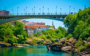 Picture greens, the sky, the sun, trees, bridge, nature, river, stones, home, lights, Bosnia and Herzegovina, …