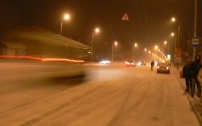 Picture winter, Blizzard, Belarus, Mogilev, my photo, night scene, Prospekt Mira
