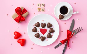 Picture holiday, gift, chocolate, candy, hearts, Valentine's day, Marhary Takovalenko