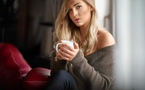 Picture look, pose, room, model, portrait, jeans, makeup, hairstyle, blonde, Cup, beauty, jacket, sitting, bokeh, window, ...