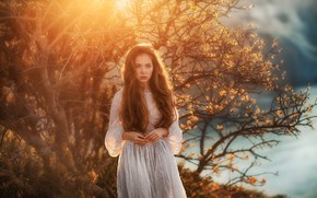 Picture portrait, Anastasia Barmina, freckles, nature, redhead, trees, model, hairstyle, makeup, bokeh, in white, the sun, …