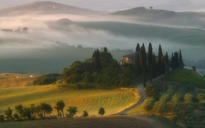 Picture mountains, fog, house, hills, field, morning, Italy, cypress, Tuscany