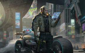 Picture The city, The game, Gun, Motorcycle, City, Fantasy, Gun, Art, Art, The Witcher, Technique, Geralt, …