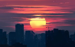 Picture Sunset, Figure, The city, Art, Dawn, Aenami, by Aenami, Alena Aenam The, by Alena Aenami, ...