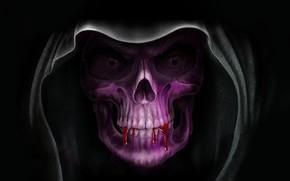 Picture Look, Skull, Blood, Death, Hood, Black background, Terrible, Мрачный Жнец