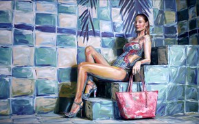 Picture one piece, painting, swimsuit, high heels, steps, Alexa Meade, 3d painting, Mathilde Goehler