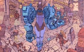 Picture Girl, Robot, Robots, Garbage, Fantasy, Art, Art, Robot, Robots, Fiction, Cyborg, Sci-Fi, Cyberpunk, Cyberpunk, Market, …
