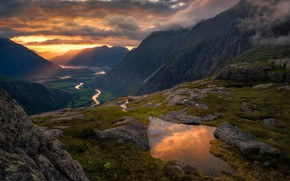 Picture sunset, mountains, river, the evening, Norway, Norway, Romsdalen, Ole Henrik Skjelstad